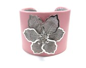 Pink Flower Bracelet - Leather Cuff Bracelet - Pink and Silver / Gray Floral Accessory - Arm Cuff - Handcrafted Designer Jewelry