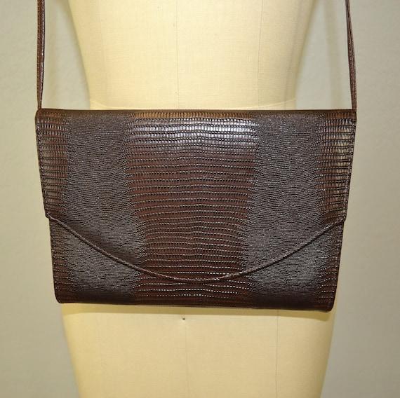 Vintage shoulder bag / faux crocodile / chocolate brown