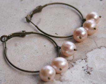 Brass Hoops / Pink Pearl Earrings / Brass Earrings / Dangle Earrings / Boho Earrings / Rustic Earrings / Elegant Earrings / Earthy Earrings