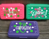 BACK TO SCHOOL-Personalized Polka Dot Pencil Box/ Art Supply holder