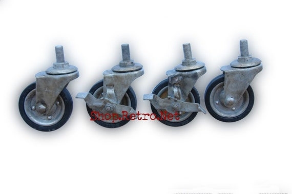 """3"""" Vintage Industrial Threaded Casters with Brakes 3THR/3THRB"""