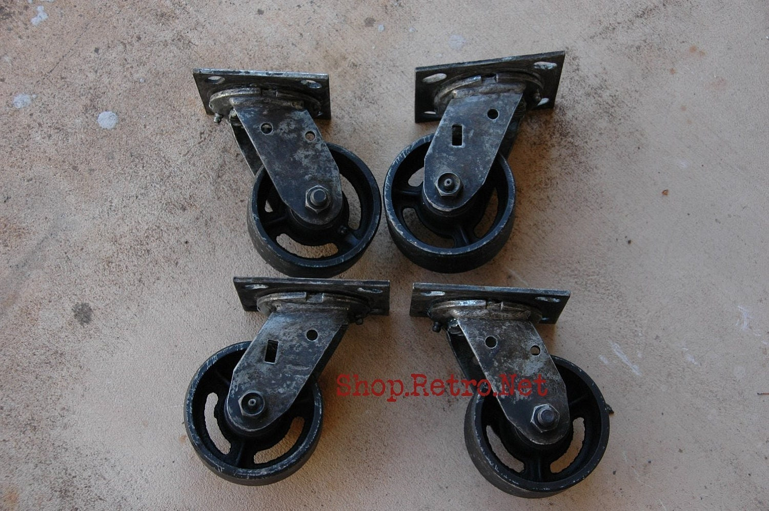 4 vintage industrial caster set antique industrial. Black Bedroom Furniture Sets. Home Design Ideas