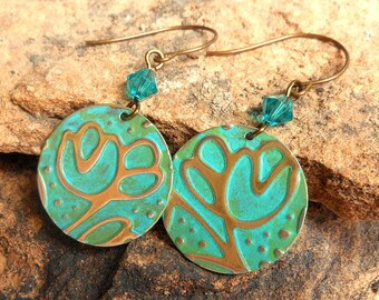 Turquoise and Moss Textured Metal Earrings,Flower Earrings,Nature Jewelry