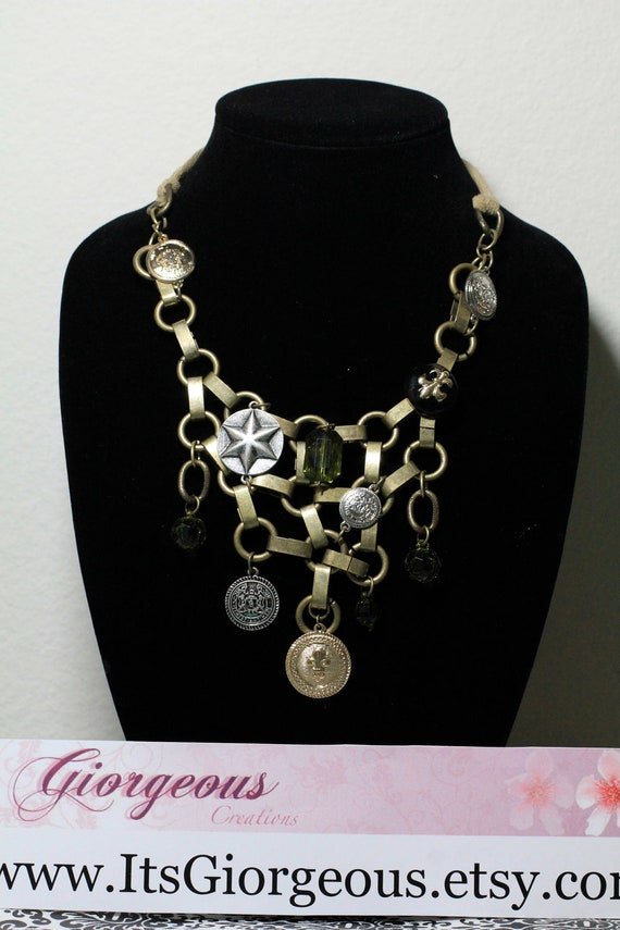 Metal Charm Statement Necklace
