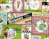 Yuwa French Vintage Food Ad Theme Color B Fat Quarter  LAST
