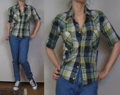 Vintage 70s FITTED SHORT Sleeve Plaid Pearl SNAP Buttons Black Jade Blue Mellow Yellow Cotton Western Cowboy Shirt xs Small
