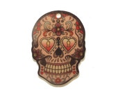 B157 Sugar Skull /2 Printed Acrylic Pendant. Mexican, Day of the Dead