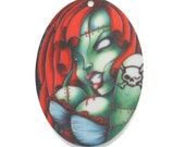 B171 Zombie Girl :4 Oval Laser Cut Acrylic Pendant // Pin Up Girl Charm // Halloween  *****STOCK CLEARANCE*****