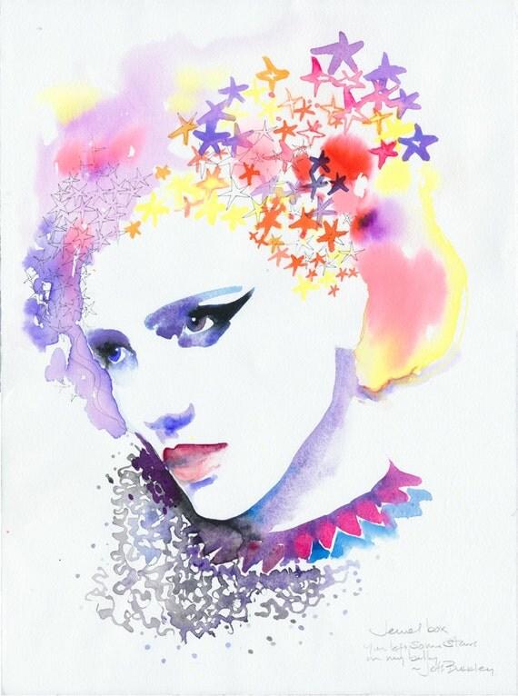 Original Watercolor, Fashion Illustration -  Jewel box