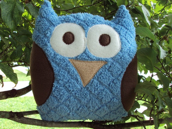 Items similar to Blue and Brown Stuffed Owl - Soft and Fluffy Plush Owl Pillow on Etsy