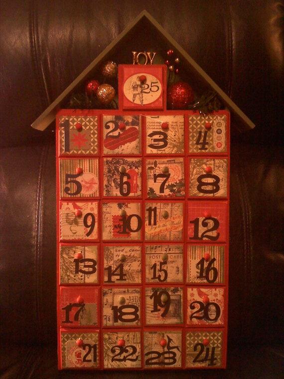 Advent Calendar Vintage : Wooden vintage look advent calendar by smartartbysusie on etsy