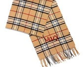 Burberry Style  Plaid Soft Monogrammed Scarf