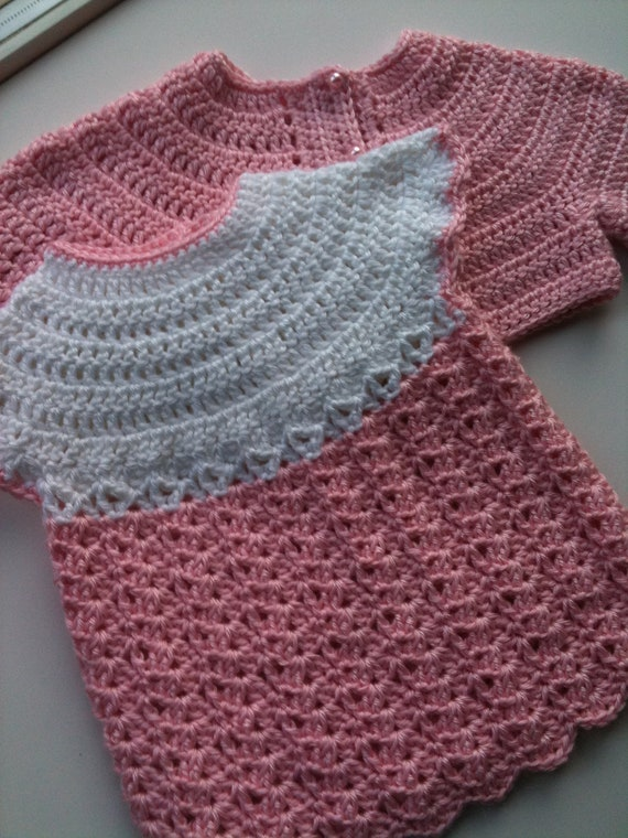 Crochet Baby Dress, Sweater Set Pink and White