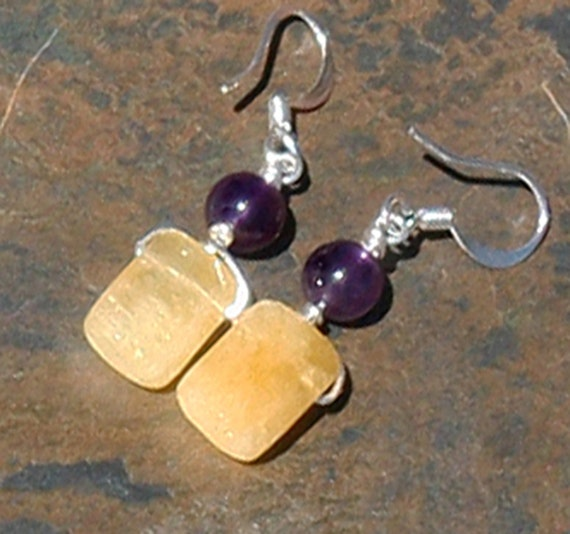 Yellow and Purple Earrings, Amethyst Natural Stone, Yellow Calcite, Silver, Beaded, Bohemian, Wire Wrapped