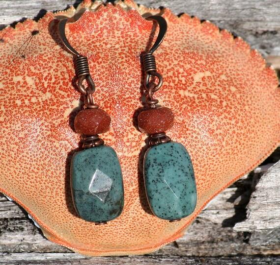 Green Earrings, Aqua Blue Green, Red Line Jasper, Natural Goldstone, Beaded