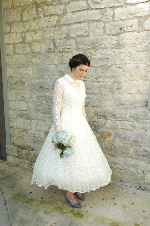 Vintage Tea Length Wedding Dress...Beautiful Creamy Ivory Lace 1950s Wedding Dress with Sheer Cropped Jacket Medium