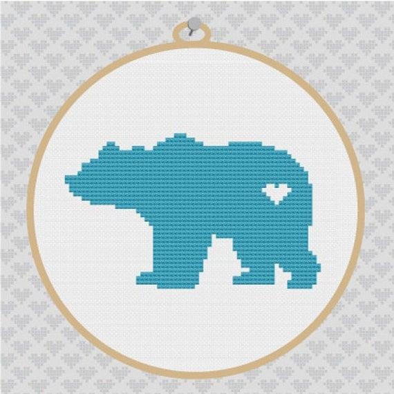 Bear Silhouette Cross Stitch PDF Pattern 2