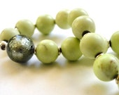 SALE -Fall collection - Lime Jasper Stretch Bracelet, Blown Glass, Accessories, Gift for Her, Fall