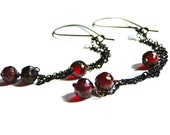 SALE Jewelry, Earrings, Dangle Earrings, Dramatic Earrings, Accessories, Garnet Gemstone Earrings