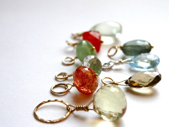 SALE ALL NINE Gemstone Charms, Ready to Wear Pendants, Necklace Charms 14k Gold Filled, Ready to Use, Charms, Gifts, Keychain Gemstones