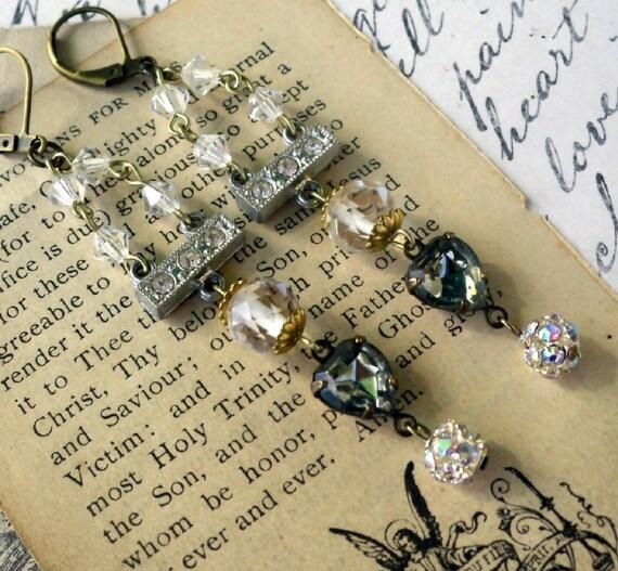 Mink and Crystal Art Deco Estate Style Chandelier Rhinestone Earrings