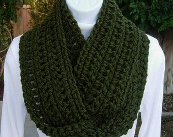 INFINITY SCARF Loop Cowl Dark Solid Green, Color Options, Extra Soft Small Crochet Knit Winter Circle Neck Wrap..Ready to Ship In 2 Days