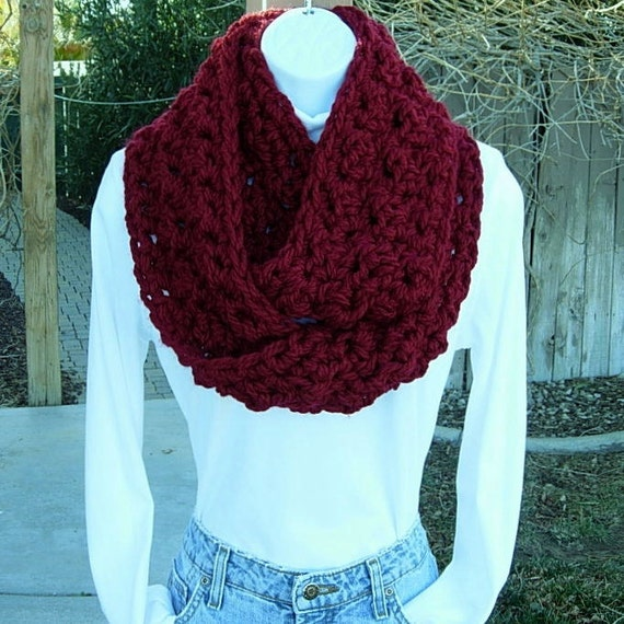 INFINITY LOOP SCARF..Dark Solid Red..Extra Thick..Super-Soft..Bulky..Warm Winter Eternity Circle Cowl, Neck Warmer..Ready to Ship in 3 Days