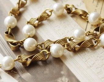 50cm  Handmade Faux Pearl Chain B/Raw Brass