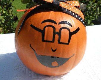 Halloween Pumpkin Funny Face Vinyl Decal w/Glasses - Home Decor - Halloween - Children