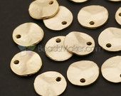 AC-253-MG / 6 Pcs - Crushed Coin Charms (Ideal for initial stamping), Matte Gold Plated over Pewter / 11mm