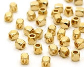 ME-115-GD / 20 Pcs - Faceted Mini Nugget Bead, Gold Plated over Brass / 2.5mm x 2.5mm