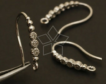 EA-102-OR / 4 Pcs - New Dew Forms (Loop Type) Hook Ear Wires, Silver Plated over Brass / 14mm
