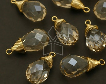 GS-107-GD / 2 Pcs - Crystal Wire Wrapped Briolette Drop (Golden Shadow), Gold Plated Brass Wire / 7.5mm x 17mm