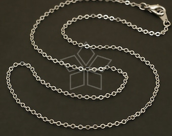 CH-077-OR // 10 Pcs - Chain Necklace with Lobster Clasp (SF235), Silver Plated over Brass / 16 inch