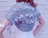 Silver Summer Grey Silk Cotton Hand Knitted Evening Shrug