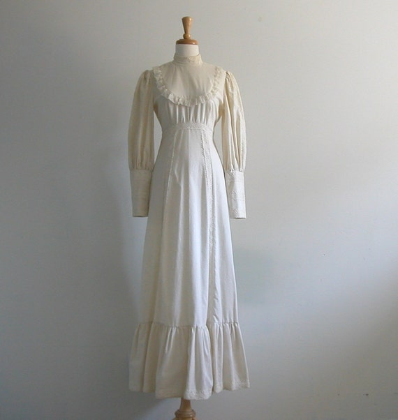 Boho Wedding Dress / white summer dress / vintage 1970s dress / bib dress / cotton / lace dress / maxi dress / sm med