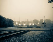 Railroad Crossing sepia tone photo 8 x 10 print industrial landscape theme foggy morning old time photo