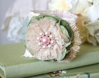 Flower Girl Bracelet, Cuff Bracelet, Pink Flower Wrist Corsage, Bridesmaid Jewelry, Bridal Bracelet, Wedding Corsage, Textile Cuff, Prom