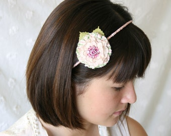Flower Girl Headband, Pink Floral Headband, Gift for Girls, Bride Headband, Pink and Green Hairband, Bridal Hairpiece