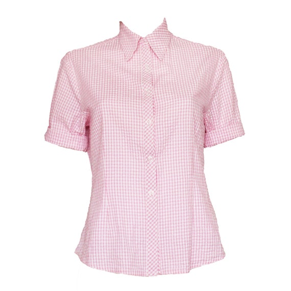 Vintage Pierre Balmain designer pink gingham seersucker short sleeve rockabilly shirt  small to medium
