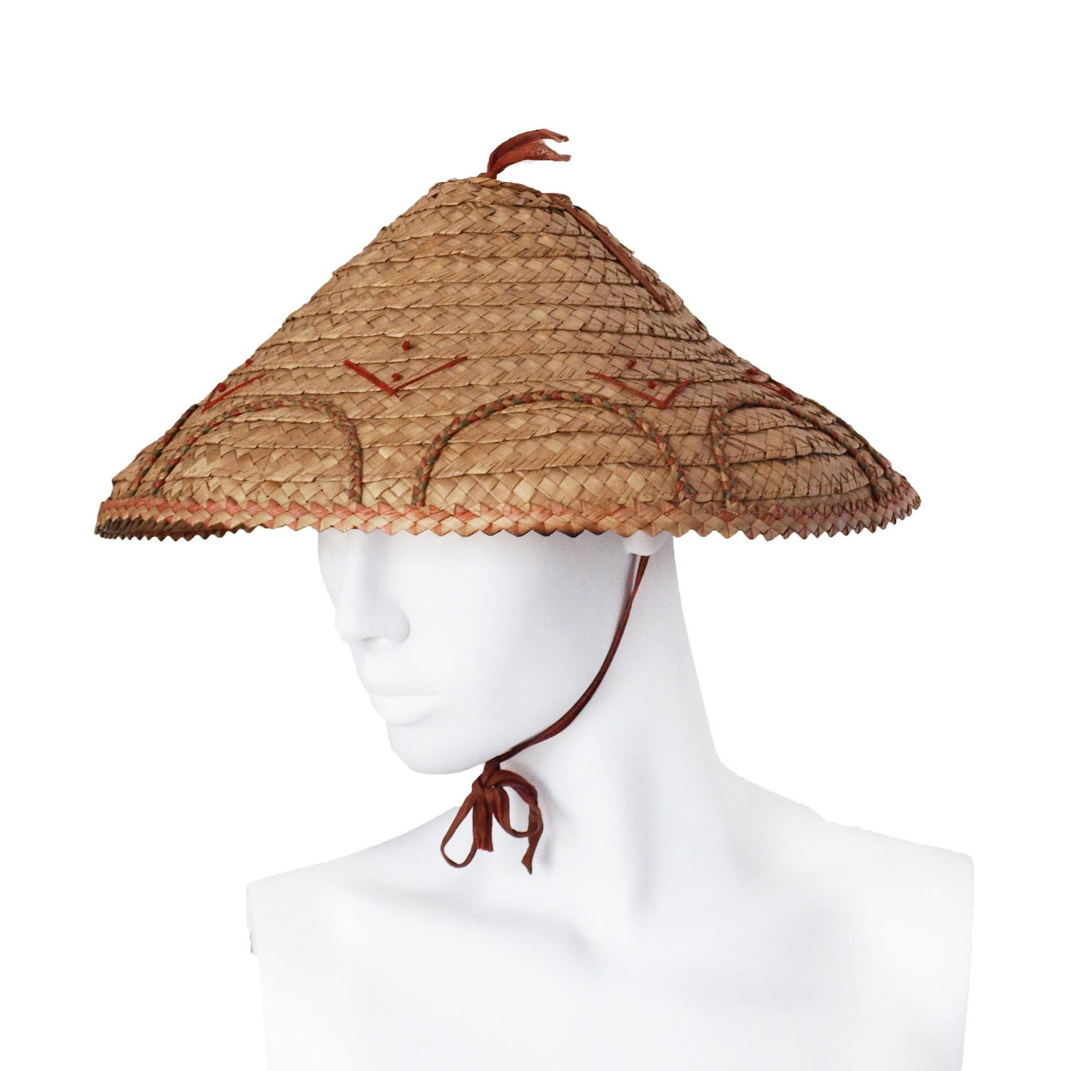 Coolie Hat: Vintage 1930s Straw Coolie Hat With Ribbon Ties And Art Deco