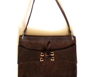 Vintage Chocolate Brown Suede Leather Handbag Purse