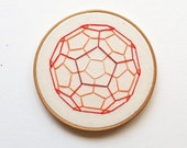 SALE - Red Ombre Buckyball Embroidery Hoop Art - Geometric Chemistry Science Orange Red