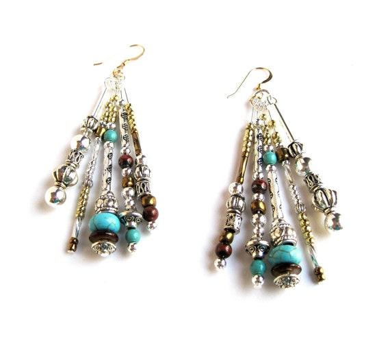 Beaded Earrings BOHO Hippie Gemstone Silver Gold Dangle Bohemian Jewelry