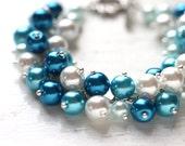 Blue Wedding Bridesmaid Jewelry Pearl Cluster Bracelet - Summer Beach Wedding Sea Waves
