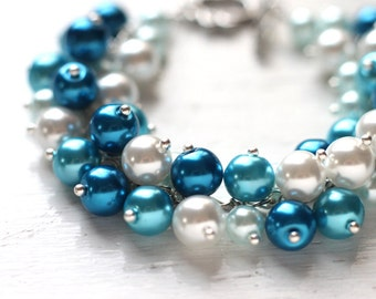 Blue Wedding Bridesmaid Jewelry Pearl Cluster Bracelet - Summer Beach Wedding Sea Waves