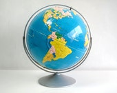 Large Classroom Globe, Nystrom Sculptural Raised Relief World Globe, 16 in. Diameter, Beautiful Colors