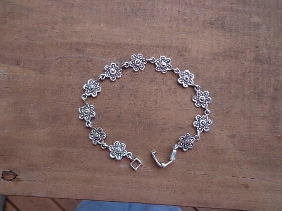 Sterling Silver Floret Marcasite Bracelet