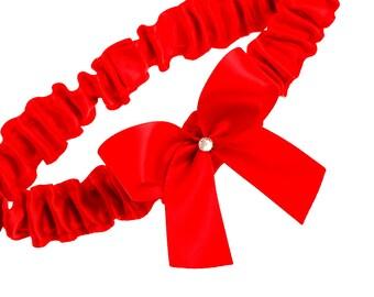 Wedding Garter, Bridal Garter, Boudoir Garter, Prom Garter - Cherry Red Bow Boudoir Garter SINGLE