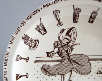 Vernon Kilns Pottery Cocktail Hour Plate Old Fashioned Lloyd Hicks 1950s Pin Up